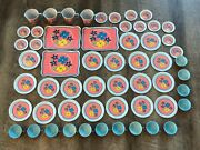 Lot Of 56 Vintage Ohio Art Metal Toy Dishes Floral