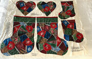 Victorian Crazy Patch Christmas Stockings 2 Sizes And Heart Pillow Fabric Craft
