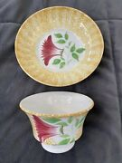 C.1830 Rare Yellow Thistle Spatterware Spatter Cup And Saucer, Staffordshire, Rare