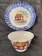 C.1830 Blue Schoolhouse Spatterware Spatter Cup And Saucer, Staffordshire, Rare