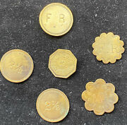 Lot Of 6 Us Country Store Tokens Marked F. Ricker - 'good For Trade' And More