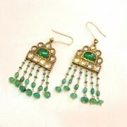 Natural Emerald And Polki Diamond Yellow Gold Earrings Vintage Jewelry