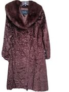 Terry Lewis Classic Luxuries Faux Fur Brown Coat Sz M Removable Collar