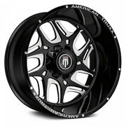 24 American Truxx Sweep Black W/milled Accents Wheels Qty 4