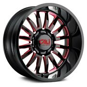 24 Cali Off-road Summit Gloss Black W/red Milled Spokes Wheels Qty 4