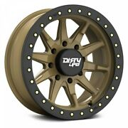 20 Dirty Life Dt-2 Satin Gold W/simulated Beadlock Ring Wheels Qty 4
