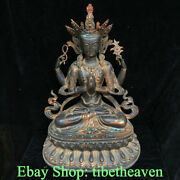 26 Collect Old Tibetan Red Copper Buddhism 4 Arms Chenrezig Buddha Statue