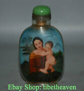 9.5cm Old China Exquisite Handmade Belle Babe Inner Painting Glass Snuff Bottle