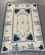 Throw Blanket Cream Blue Fringe Hearts Buildings Trees Primitive Country Home