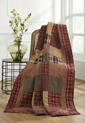 New Primitive Country Farmhouse Rutherford Quilted Patchwork Throw Blanket