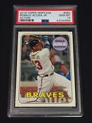 Ronald Acuna 2018 Topps Heritage Rc Action Rookie Sp 580 Atlanta Braves Psa 10
