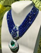 Necklace 925 Sterling Silver Pendant Blue Cabochon White Round Five Layer New