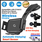 Wireless Car Charger Mount Auto Clamping Smartphone Holder 15w Qi Fast Charging