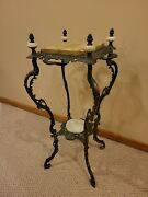 Antique French Copper Gilt Iron 2 Tier Onyx Ornate Plant Stand 19th Century Vtg