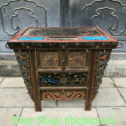 41.2 Old China Lacquerware Painting Dynasty Palace Dragon Flower Abacus Cabinet