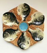 Great Vintage Majolica Fish Head 6 Well Oyster Plate, Aquamarine Center Well