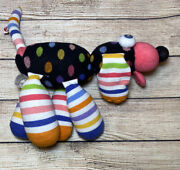 Little Miss Matched Puppy Dog Plush Doll Stuffed Animal Bright Stripes 14andrdquo Toy