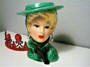 Vintage Lefton Lady Planter/vase Green Hat Black Glove And Faux Pearl Earrings