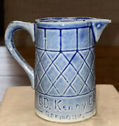 """Antique C D Kenny Co Germany Blue Pitcher Creamer 2.75"""" Tall Advertising Premium"""