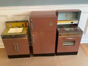 Vtg Sears Kenmore Tin Toy Kenmore Stove, Sink And Fridge. Wolverine Supply Co.