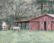 Bruce Housey Original Painting Horse And Barn