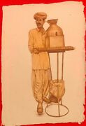 Hand Painted Poor Indian Tea Seller Ancient India Portrait Miniature Painting