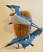 Bluejays Pair Art Wood Bird Carving Sculpture Duck Decoy Signed By Casey Edwards