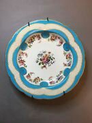 Original Antique Sevres Porcelain Hand Painted Plate With Flowers