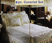Twin 3 Piece Lace Coverlet Set Ivory Victorian Rose Cotton Blend Bedroom New