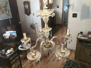 Beautiful Crystal Glass 5 Arm Chandelier Candelabra Lamp With Prisms