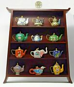 Reduced Jewels Of The Ming Dynasty Tea Pots By Franklin Mint -complete Set