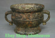 9 Old China Bronze Ware Dynasty Palace Dragon Beast Ear Incense Burners Censer