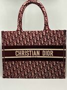 Dior Small Book Tote In Burgundy Oblique Embroidered Velvet