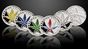 Set Of 5 -1/10th Troy Oz .999 Solid Fine Silver American Cannabis Rounds/coins
