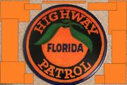 Florida Highway Patrol Embroidery Patch Resin Wall Plaque 10 Round