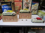 Marx Drivers Training Cars Set Of 3, 2 Boxed And 1 Loose Tin Wind Up N Mint Works