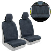 Full Set Car Towel Seat Cover Front And Rear Covers - Sweat Resistant Black Trim