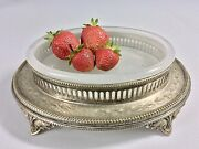 Antique Silver Plate Candy Dish Bowl Oval Opaline Glass Victorian Ca 1900's
