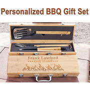 Personalized Bamboo Bbq Gift Set Grilling Tool Set Engraved Barbecue Box Dad