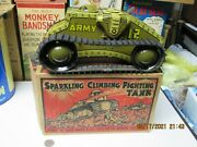 Marx Sparkling Climbing Fighting Army Tank Tin Windup In Box 30s Works Exc