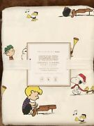 New Pottery Barn Teen Flannel Peanuts Full/queen Duvet Cover Christmas Snoopy