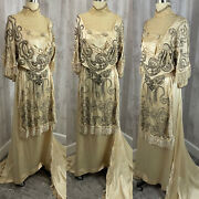 C1900-1910s Edwardian True Antique Wedding Gown Vintage Beaded Silk Dress Rare
