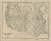 Antique Map Of The United States Of North America West By Johnston 1882