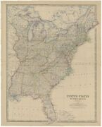 Antique Map Of The United States Of North America By Johnston 1882