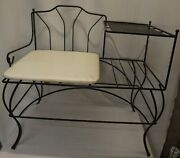 Mid-century Modern Cushioned Wrought Iron Gossip Bench - Telephone Stand