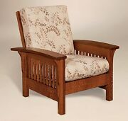Amish Mission Arts And Crafts Accent Chair Empire Upholstered Solid Wood