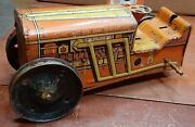 Vintage Marx Toys Friction Wind Up Tin Litho Tractor Orange/yellow, For Parts