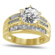 Simulated Round Diamond Solitaire With Accent Ring 14k Yellow Gold