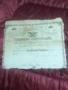 1874 Sing Sing Ossining New York Firemans Certificate Signed X34
