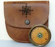 Maritime Brass Replica Shape Pocket Compass With Handmade Leather Case
